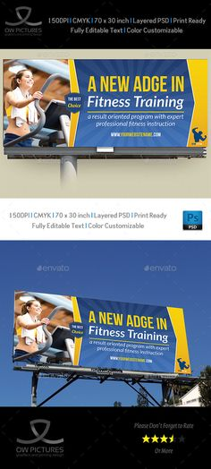 Billboard Description : Fitness GYM Billboard Template was designed for business, it¡¯s professional and eye catching. Attract