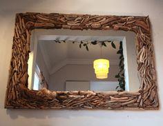 Large Natural Driftwood Mirror-Coastal Home Decor-Driftwood Art-Rectangle Wall Mirror made by Agackucaklayan