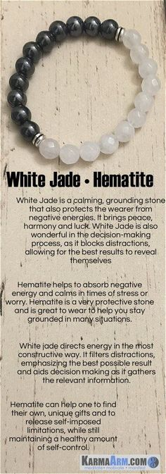 White Jade is a calming, grounding stone that also protects the wearer from negative energies. It brings peace, harmony and luck. Hematite is also good for working with the Root Chakra, helping to transform negative energies into a more positive vibration. Those in relationships can benefit from the cooperation vibe coming from Hematite. Hematite is used to improve relationships. If you need your personal relationship to be better, wear hematite. #Men'sJewelry