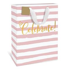 Celebrate! Pink Large Gift Bag by Graphique de France. A classy pink striped gift bag to fit your graduate's special gift. $4.50
