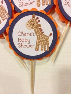 Baby Giraffe Baby Shower Cupcake Toppers by DragonFlyPapier, $12.50