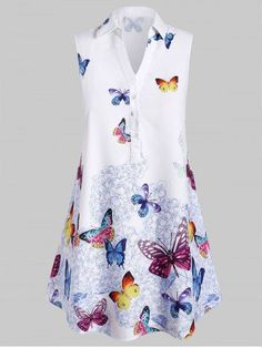 Plus Size Sleeveless Longline Butterfly Print Graphic Blouse Plus Size Blouses, Plus Size Tops, Plus Size Women, Shirt Collar Styles, Fashion Seasons, Printed Blouse, Ideias Fashion, Clothes For Women, Butterfly Print