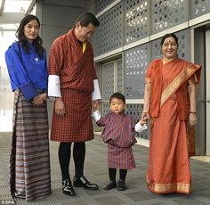 The Bhutanese royals were welcomed to the country by Indian External Affairs Minister Sush...
