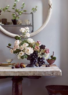 Fruits Vegetables Wedding Flower Arrangements Bouquets with Black Grapes and Kale
