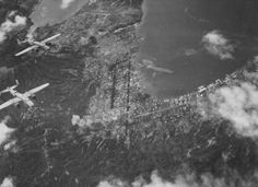 Mitchell bombers of US Army ComAirSols Bomber Command attacking Rabaul, New Britain, circa late note Lakunai airfield in top center of photo Uss Hornet, New Britain, United States Army, Photo B, Us Air Force, South Pacific, North Africa, Military History, Us Army
