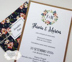 Convite Rústico Floral - Flavia e Marcos