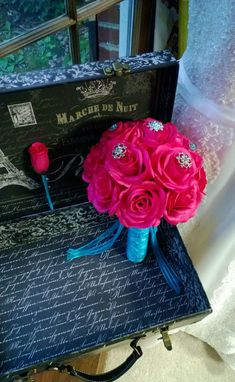 Hot Pink Rose Malibu Blue Brooch Bouquet with matching Boutonniere, Hot Pink Rose Bouquet, Hot Pink Bouquet, Pink Turquoise Bridal Bouquet by silkflowersbyjean. Explore more products on http://silkflowersbyjean.etsy.com