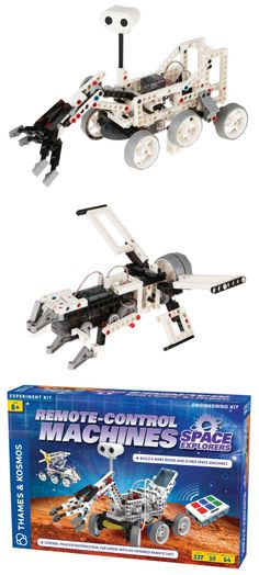 At this very moment, 140,000,000 miles into space, two active Mars rovers roll across the surface of the Red Planet. With this engineering kit you'll have everything you need to build your own version of a Mars rover—and nine other space-themed machines. #STEM #STEAM Remote-Control Machines: Space Explorers Kit | National Geographic Store