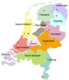 Provincies van Nederland - inwoners en vlag Provinces of Holland, inhabitants and flags
