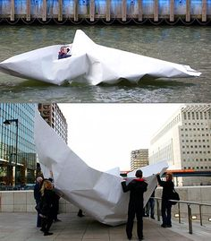 Who said that folding paper boats is boring?  Artist Sails the River Thames in an Origami Paper Boat. More than just a paper boat this by artist Frank Bolter from Germany was made from giant sheets of paper and folded using origami techniques. Safely reinforced with metal poles  Continue reading   The post Who said that folding paper boats is boring? appeared first on Origami Blog.