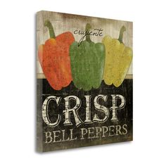 Tangletown Fine Art 'Crisp Bell Peppers' by Jennifer Pugh Textual Art on Wrapped Canvas