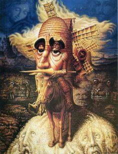 Octavio Ocampo (México, 1943) - Visiones del Quijote, 1989. Óleo sobre lienzo.