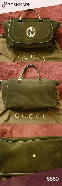 Gucci 1973 Top Handle Tote Black Suede Black Suede Leather top handle tote/purse with frontal top flap and a 1973 Gucci interlocking GG logo. Condition: some exterior scuffs from normal handling, minor interior wear. Overall very good condition. Gucci Bags Totes