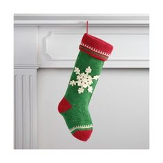 Cost Plus World Market Green Snowflake  Knit Stocking ($9.99) ❤ liked on Polyvore featuring home, home decor, holiday decorations, holiday decor, handmade christmas stockings, handmade home decor and holiday home decor