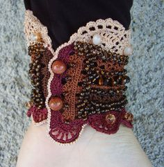 Crochet cuff Crochet bracelet Statement by KSZCrochetTreasures