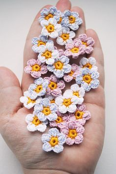 Crochet flower appliques, crafting supplies, crochet flowers, crocheted suplies, flower appliques, forget me not, mini crochet appliques