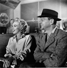 "Marilyn Monroe & Joseph Cotten on the set of ""Niagara"" 1953"