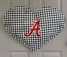 Big Heart Alabama Fan Burlap door and wall hanger. $30.00, via Etsy.