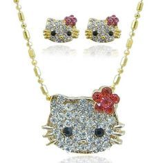 "Ever Faith Lovely Hello Kitty Cartoon Austrian Crystal 18K GP Necklace Earring Set Ever Faith. $32.95. The necklace measures approx. 15.75¡± in length. The earring measures approx.0.47""x 0.30"".. This is a lovely and beautiful jewelry set of hello Kitty theme. It will be the best gift for your girlfriend or yourself"