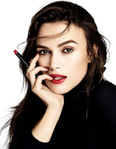 Keira Knightley with red lips and strong brow = fall beauty perfection.