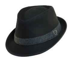 Dorfman Pacific Men's Wool Blend Fedora Hat with Herringbone Band, Large, Black
