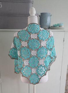 Crochet pattern shawl Blue Lagoon English US by CrochetMadebyleen