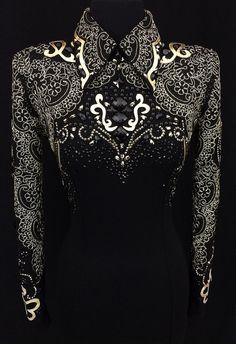 Jet Black and Gold Horsemanship Shirt by DarDar8 Designs ~ Ladies XS
