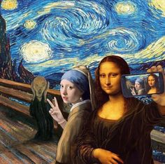 A famous painting ART selfie. The Scream by Edvard Munch, Starry Night by Vincent van Gogh, Girl With a Pearl Earring by Johannes Vermeer and Mona Lisa by Leonardo da Vinci. Memes Arte, Art Memes, Art Selfie, Selfie Time, Art Du Collage, Street Art, Mona Lisa Parody, Photocollage, Inspiration Art