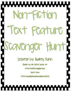 "FREE LANGUAGE ARTS LESSON - ""Non-Fiction Text Feature Checklist/Scavenger Hunt"" - Go to The Best of Teacher Entrepreneurs for this and hundreds of free lessons.  http://thebestofteacherentrepreneurs.blogspot.com/2012/10/free-language-arts-lesson-non-fiction.html"