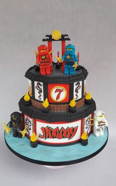 Lego ninjago cake Ninja Birthday Cake, Ninja Cake, Ninja Birthday Parties, Birthday Cakes, 5th Birthday, Lego Ninjago Cake, Ninjago Party, Lego Cake, Superhero Cake
