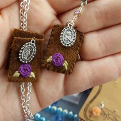 Working on a new scapular necklace...you can request one with any color rose and accent beads!