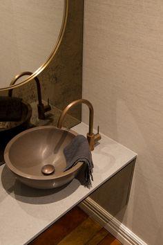Apaiser Orbit Vessel Basin in Walnut looking amazing with a Buddy Kitchen Mixer & matching Pop Up Waste in Aged Brass! Bathroom Tapware, Stone Basin, Kitchen Mixer, Upstairs Bathrooms, Basins, Keys, Clock, Design Ideas, House Design