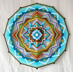 Yarn mandala, Finding Love, an 18 inch, 12-sided, Ojo de Dios, by custom order