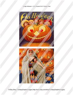 Vintage Halloween Postcard Collage 4x4 Inch Squares Ornaments Tiles Coaster Magnet 4 Digital Image Sheets Instant Download Vintage Ephemera via Etsy Fantasygraphicimages