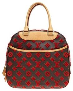 Louis Vuitton Deauville Cube Satchel in Brown, Red.  2680