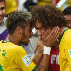 Neymar and David Luiz of Brazil celebrate their team's second goal during the 2014 FIFA World Cup Brazil Quarter Final match between Brazil and Colombia at Castelao on July 2014 in Fortaleza, Brazil. World Cup 2014, Fifa World Cup, World Football, Football Players, Soccer Match, Fc Barcelona, Neymar, Pitch, Brazil