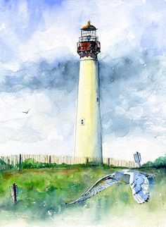 Cape May Lighthouse Portrait Painting by John D Benson - Cape May Lighthouse Portrait Fine Art Prints and Posters for Sale
