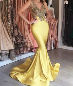 Yellow v neck lace mermaid long prom dress, yellow formal dress, unique prom dresses 2017