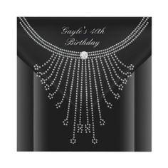 Birthday Party Black Necklace Jewel Diamond Invite. its Amber!!!!