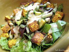 summer salad with roasted turmeric tofu