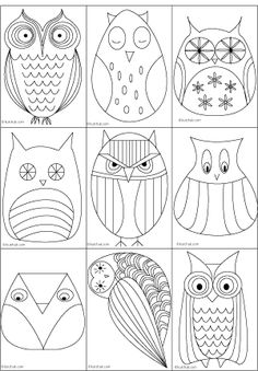 Owl template for all my teacher friends using an owl theme this year... or you Chi O girls out there. Owls were all the rage when I graduated from high school and my husband (boyfriend at the time), painted a pair of owl salt and pepper shakers for my Aunt Eloise which she always kept in her kitchen window. My mother hand-appliqued owls like some of these on a burlap pillow pouch.