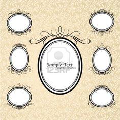 Vector Set Vintage gerahmte kunstvollen Etiketten für Design. Design-Vorlage Stockfoto - 11276614