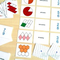 Seznamujeme se zlomky II. - třísložkové karty / od pestrenka.lucie   Fler.cz Playing Cards, Playing Card Games, Game Cards, Playing Card