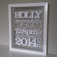 A 'moo'tiful Personalised New Baby Papercut Treat a friend, family member or… Birth Announcement Girl, Birth Announcements, Baby Frame, Baby Birth, Box Frames, Frames Ideas, Floating Frame, Baby Crafts, Paper Cutting