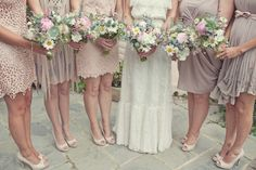 The Trendy Sparrow: Mismatched Bridesmaids Dresses