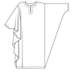 MAKE AN EASY KAFTAN (or CAFTAN) I used 2 yards of soft batik print that looks good on both sides. Dress Sewing Patterns, Clothing Patterns, Pattern Sewing, Free Pattern, Motif Abaya, Fashion Sewing, Diy Fashion, Punk Fashion, Lolita Fashion