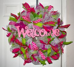 Deco mesh pink and green MADE BY LW
