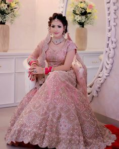 Indian wedding gowns - So pretty cute 😍♥️👌 Pink Bridal Lehenga, Indian Wedding Gowns, Lehenga Wedding, Designer Bridal Lehenga, Indian Bridal Outfits, Indian Bridal Lehenga, Indian Bridal Fashion, Pakistani Bridal Dresses, Indian Dresses