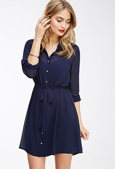 U N P U R C H A S E D - $23 Chiffon Button-Down Shirt Dress | Love21 - 2000080810