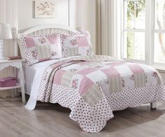 3 Piece Tabitha Rose Quilt Set